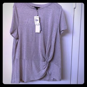 Short sleeve side knot crew neck top